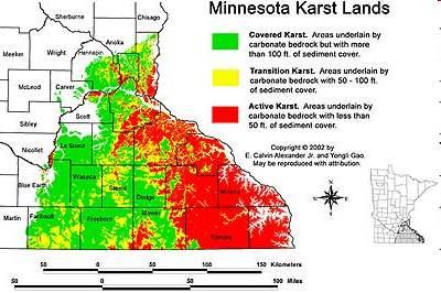 CountyRegional Geology Data Minnesota - Map of karst topography in us